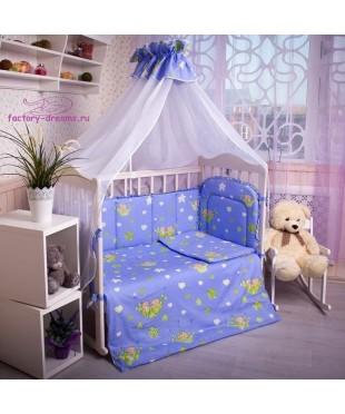 Комплект в кроватку Мишки синие