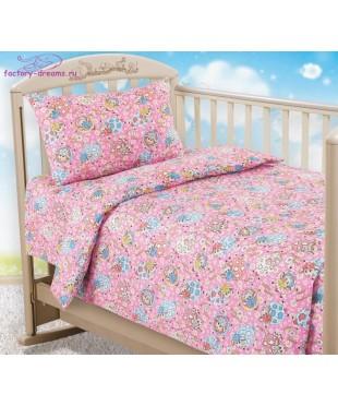 Комплект из бязи в кроватку Овечки розовые