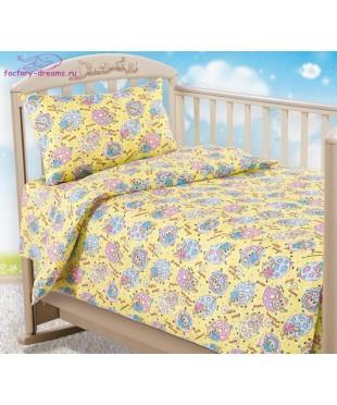 Комплект из бязи в кроватку Овечки желтые